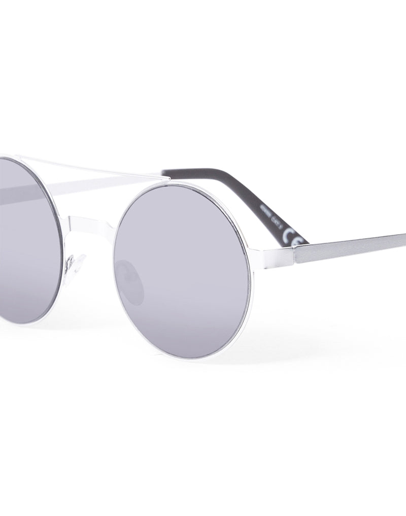 The Idle Man - Brow Bar Round Lens Sunglasses Silver