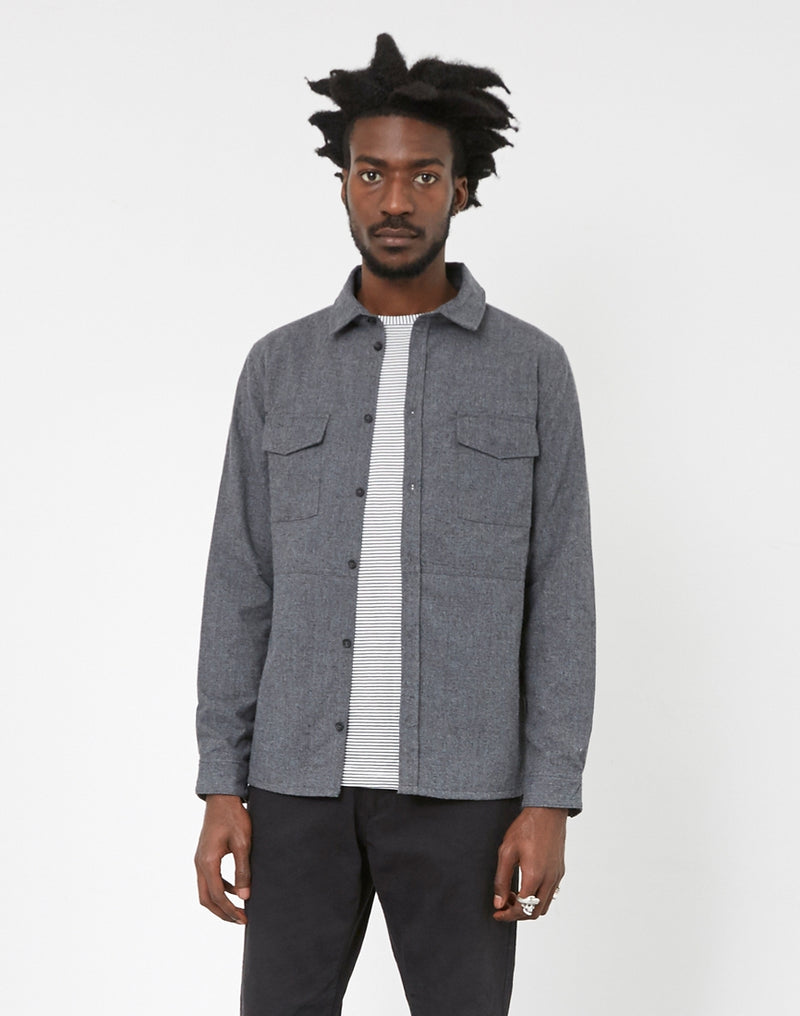 The Idle Man - Brushed Cotton Shirt with Pockets Grey