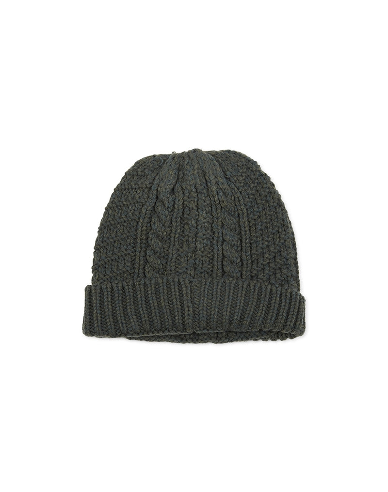 The Idle Man - Cable Knit Beanie Green - Green