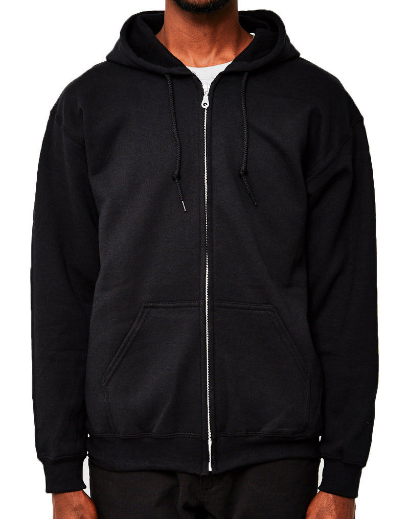The Idle Man - Classic Zip Through Hoodie Black