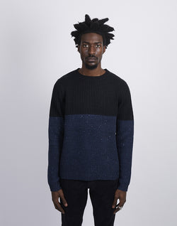 The Idle Man - Colour Block Crew Neck Knitted Jumper Black