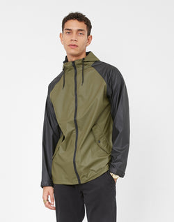 The Idle Man - Colour Block Rain Coat Black & Green