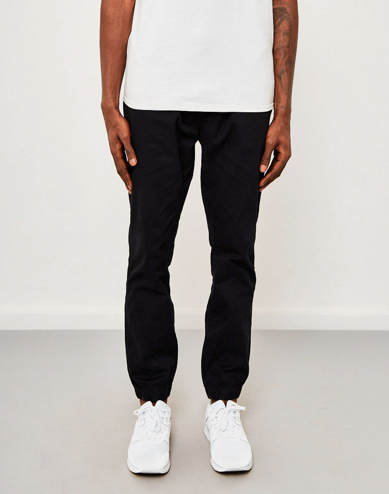 The Idle Man - Cotton Elasticated Cuff Trouser Black