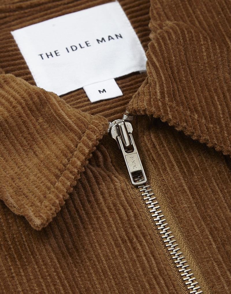The Idle Man - Corduroy Zip Overshirt Tan