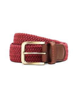 The Idle Man - Elastic Weave Belt Burgundy