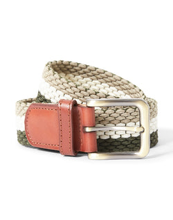 The Idle Man - Elastic Weave Belt Green Stone & White