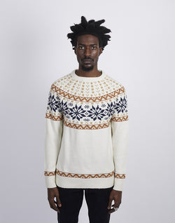 The Idle Man -Farisle Neck Jumper Off White