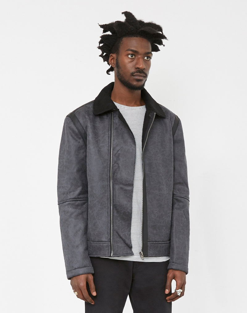 The Idle Man - Faux Shearling Flight Jacket Black