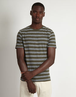 The Idle Man - Fitted Stripe T-Shirt Green