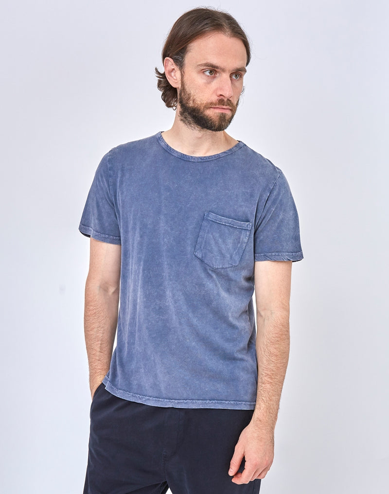 The Idle Man - Indigo Dyed Boxy Pocket T-Shirt Blue