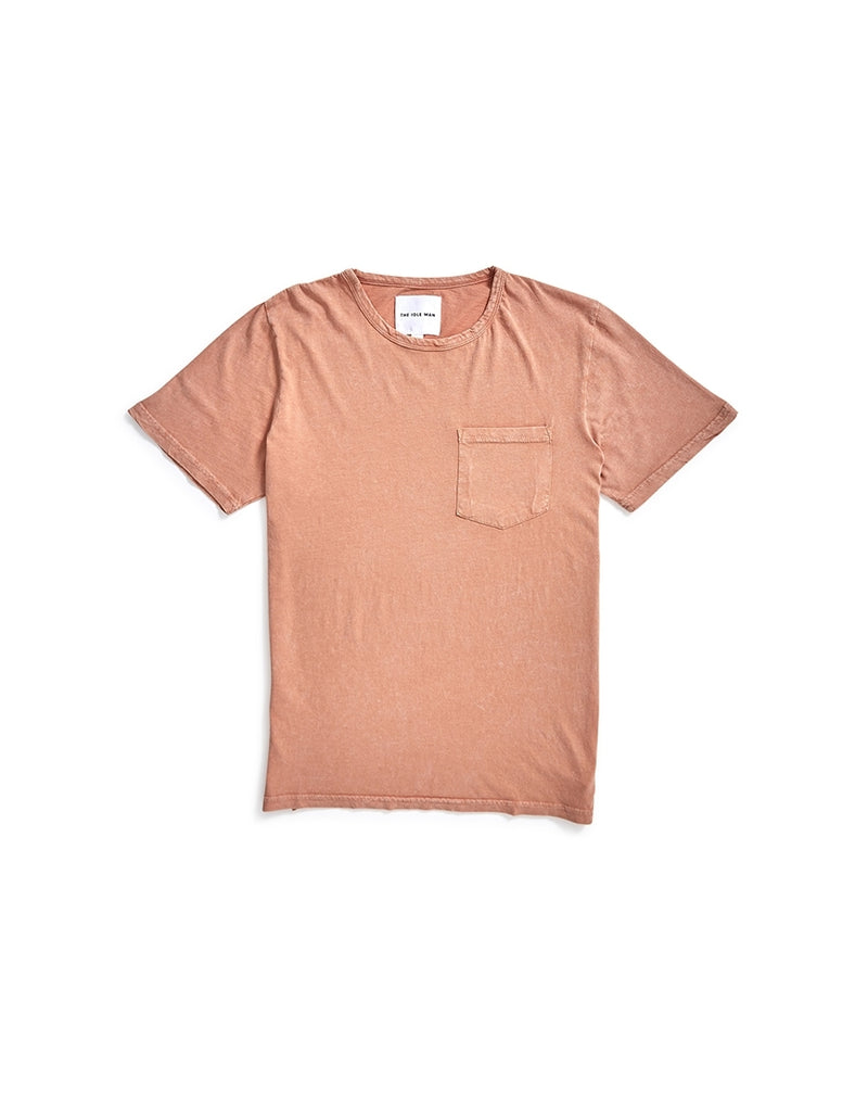 The Idle Man - Indigo Dyed Boxy Pocket T-Shirt Rust
