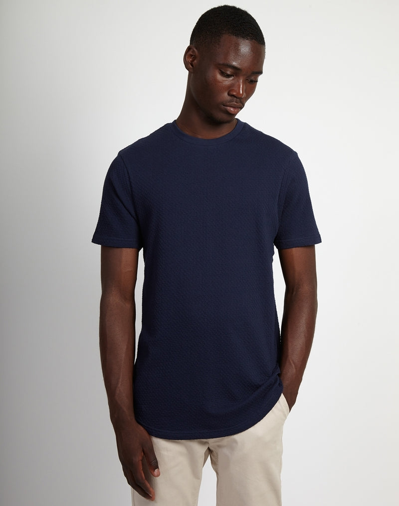 The Idle Man - Knitted T-Shirt Navy