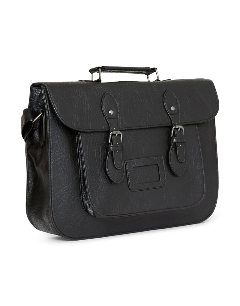 The Idle Man - Leather Look Satchel Black