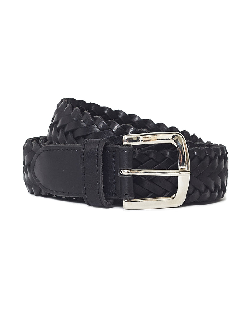 The Idle Man - Leather Plait Belt Black