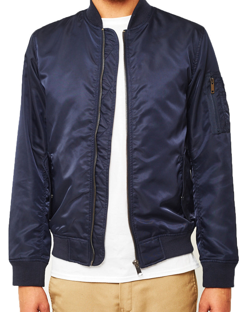 The Idle Man - Lightweight MA-1 Nylon Bomber Jacket Navy