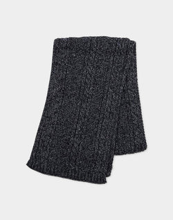 The Idle Man - Melange Knit Scarf Black