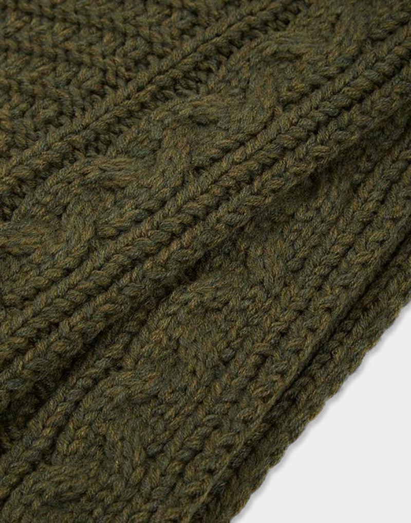 The Idle Man - Melange Knit Scarf Green