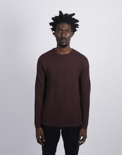 The Idle Man -Merino Crew Neck Knitted Jumper Burgundy