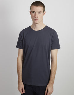 The Idle Man - Organic Crew Neck T-shirt Slub Black