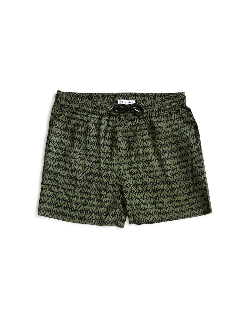 The Idle Man - Printed Geo Drawstring Short Green