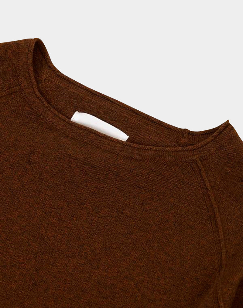 The Idle Man - Raglan Crew Neck Knitted Jumper Brown