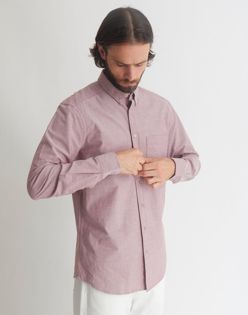 The Idle Man - Relaxed Modern Fit Chambray Shirt Red