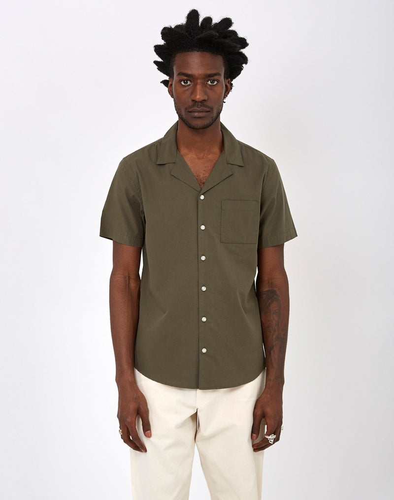 The Idle Man - Revere Collar Shirt Khaki