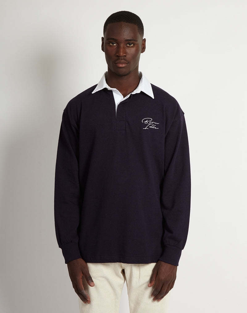 The Idle Man - Signature Embroidered Rugby Shirt Navy