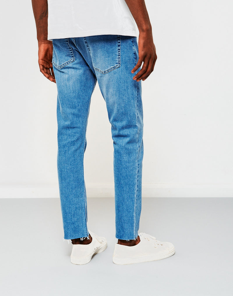 The Idle Man - Slim Fit Raw Hem Jeans Stone Wash