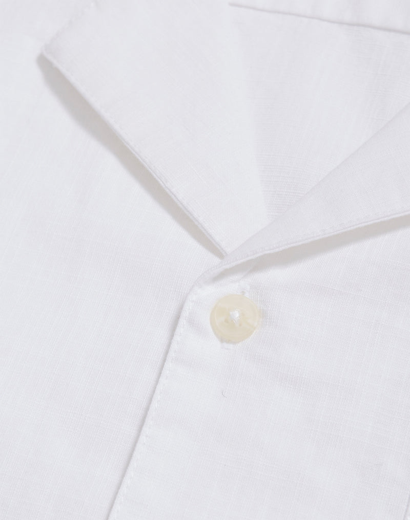 The Idle Man - Slub Revere Collar Shirt White