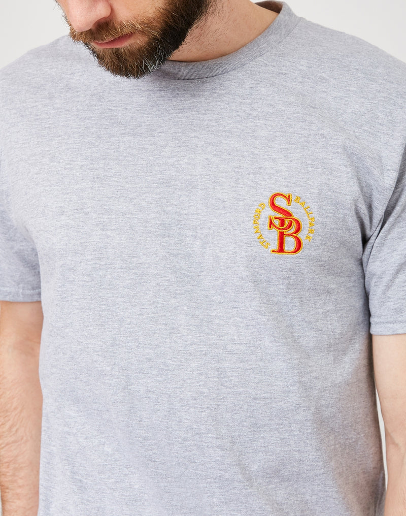 The Idle Man - Stamford Ball Park Embroidered T-Shirt Grey