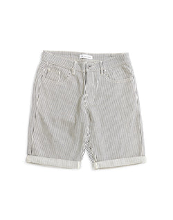 The Idle Man - Striped Denim Shorts White