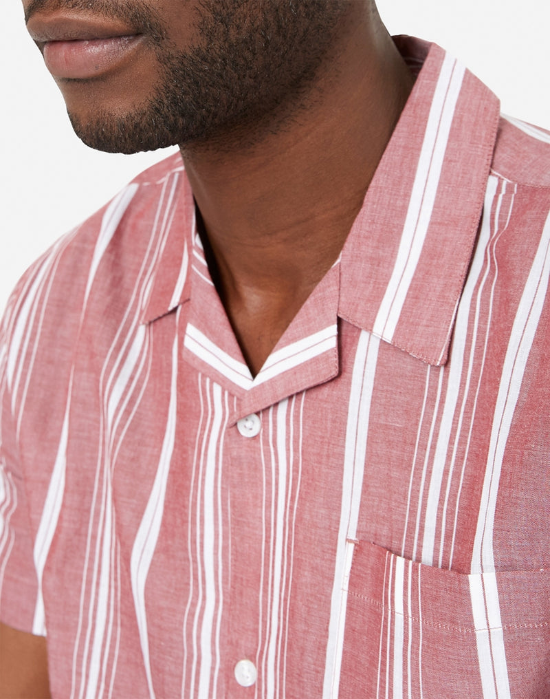 The Idle Man - Striped Revere Collar Shirt Burgundy