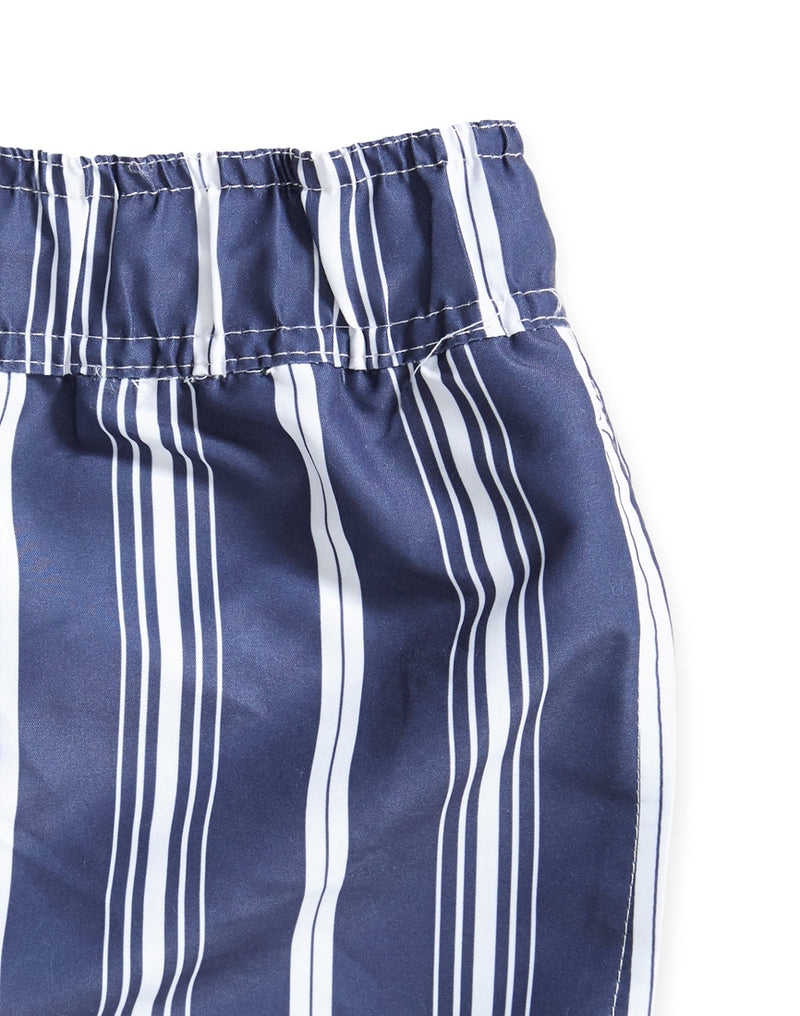 The Idle Man - Striped Swim Shorts Navy