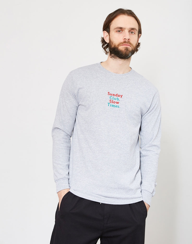 The Idle Man - Sunday Club Slow Times Embroidered Long Sleeve T-Shirt Grey