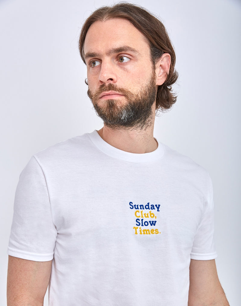 The Idle Man - Sunday Club Slow Times Embroidery T-Shirt White