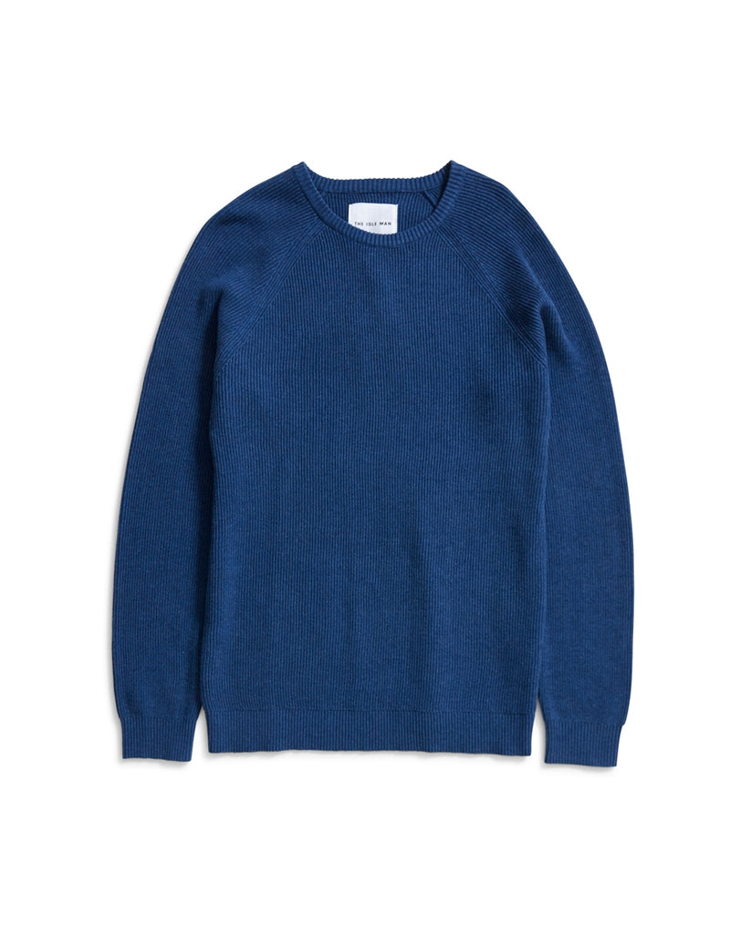 The Idle Man - Vertical Rib Raglan Jumper Blue