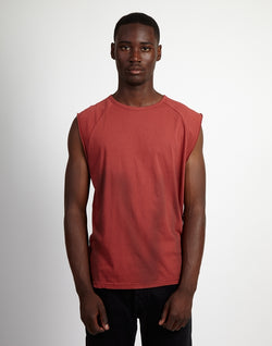 The Idle Man - Washed Sleeveless T-Shirt Paprika