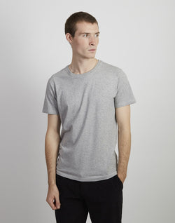 The Idle Man - Organic Heavyweight  T-Shirt Grey Marl