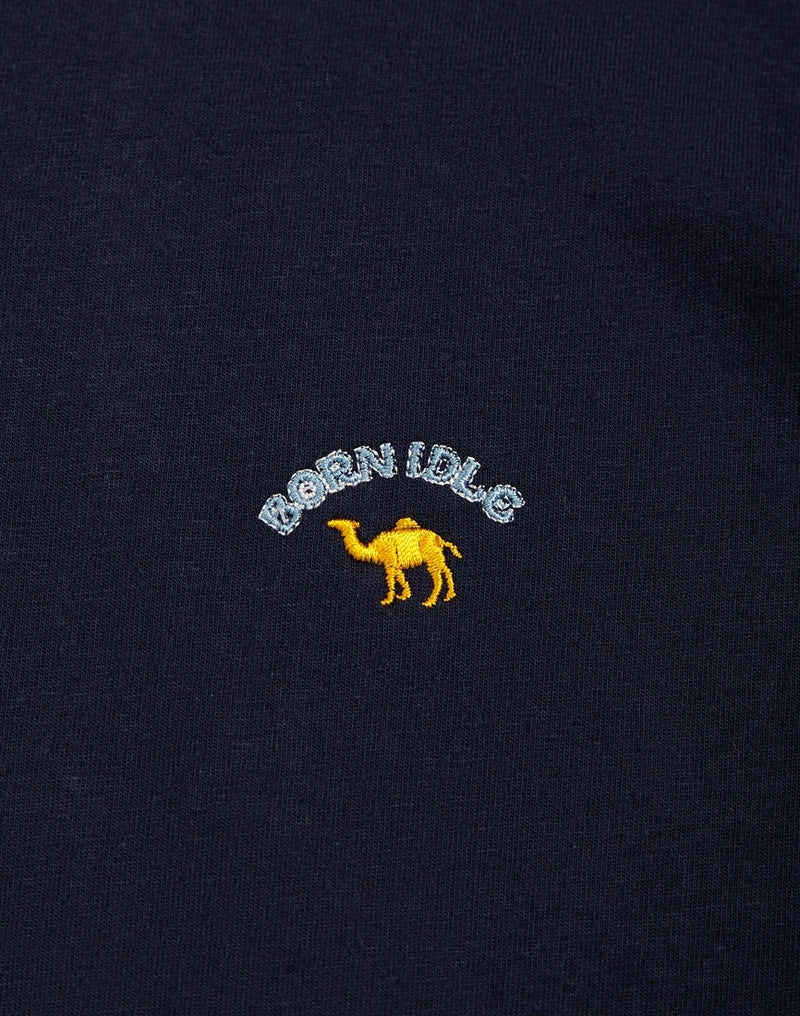 The Idle Man -Born Idle Camel Embroidered T-Shirt Navy