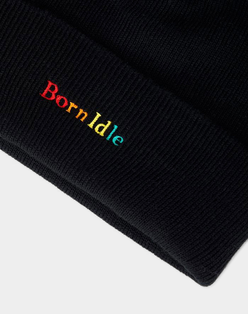 The Idle Man - Born Idle Embroidered Beanie Black