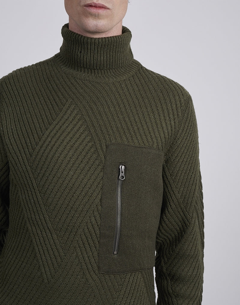 The Idle Man -Cable High Neck Green