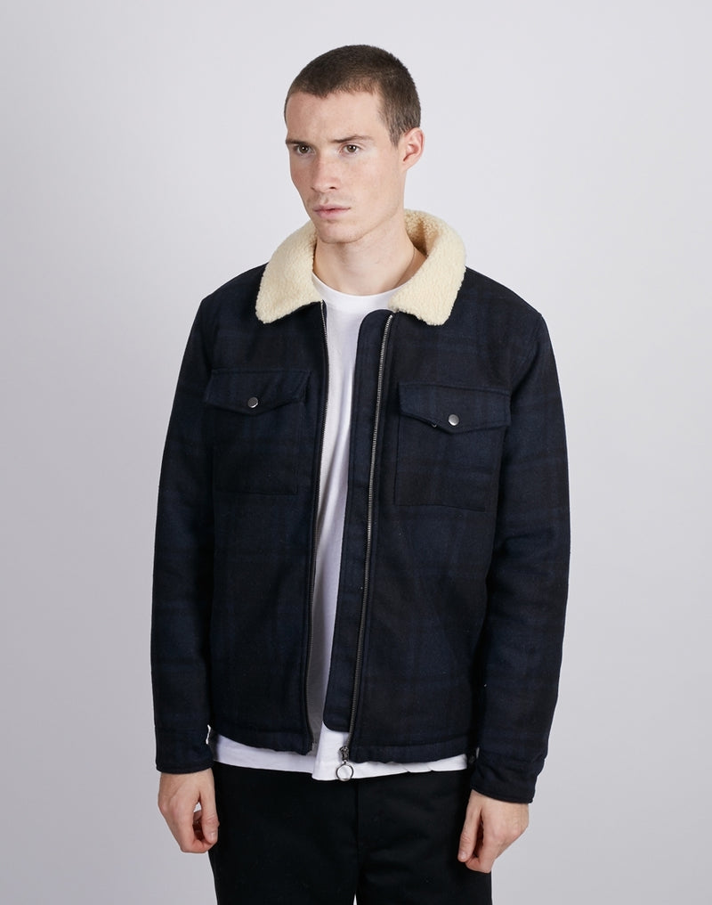The Idle Man -Check Wool Bomber Jacket Navy