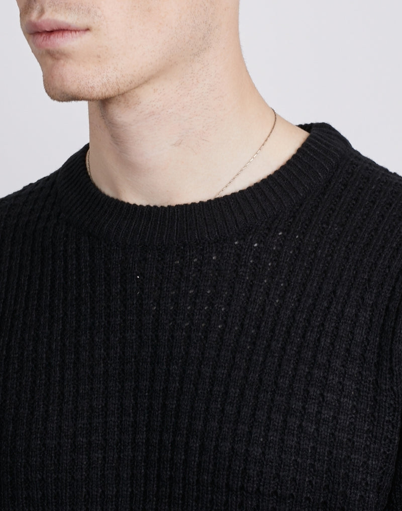 The Idle Man -Chunky Waffle Knit Black