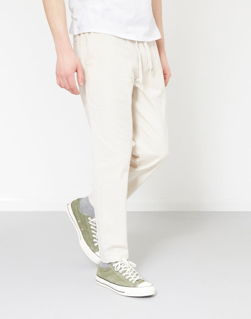 The Idle Man - Cropped Elasticated Waist Trousers Stone