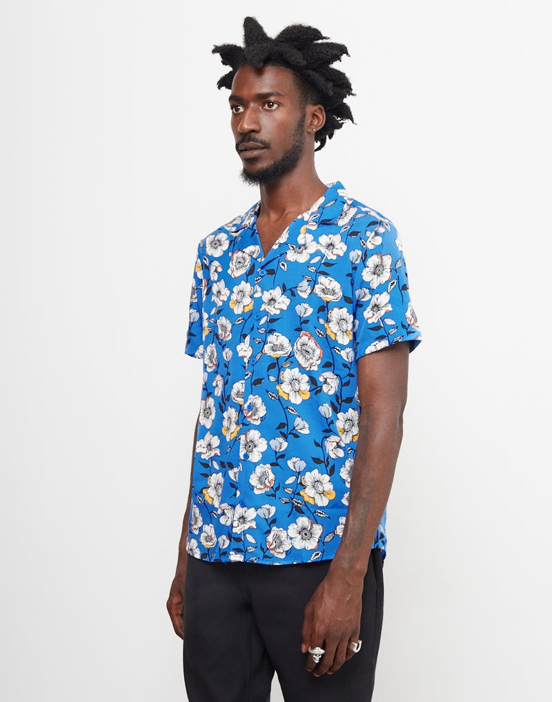 The Idle Man - Floral Revere Collar Shirt Blue