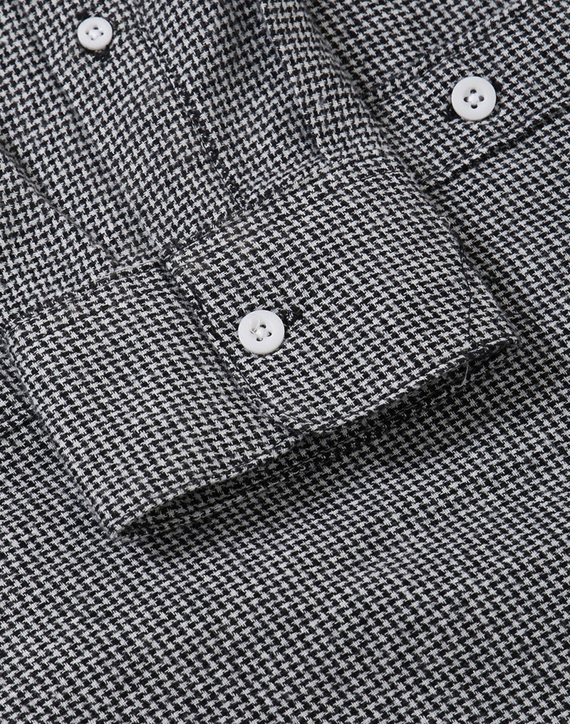 The Idle Man - Gingham Check Shirt Black & White