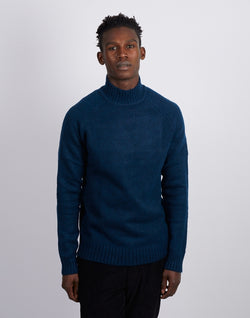 The Idle Man - High Neck Knit Jumper Blue