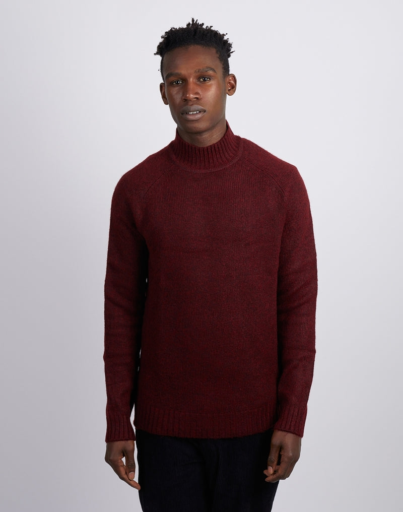 The Idle Man - High Neck Knit Jumper Burgundy