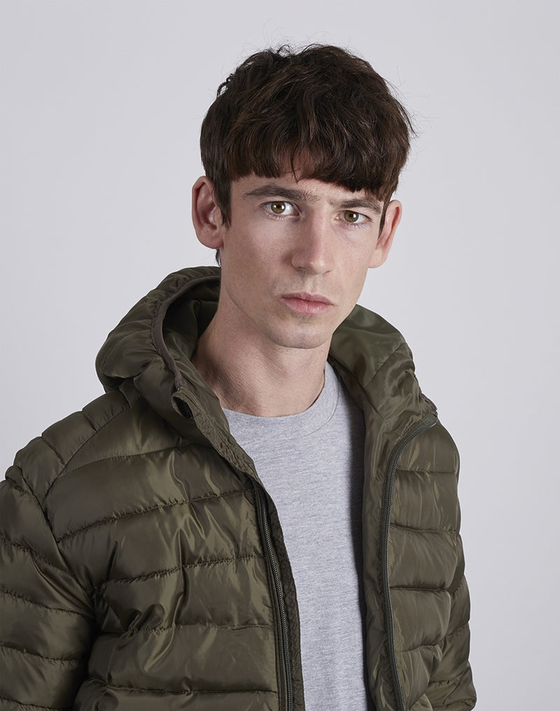 The Idle Man - Hooded Puffer Jacket Green